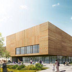 Die Volksschule in der Christian Bucher Gasse in Wien überzeugt in Massivholzbauweise