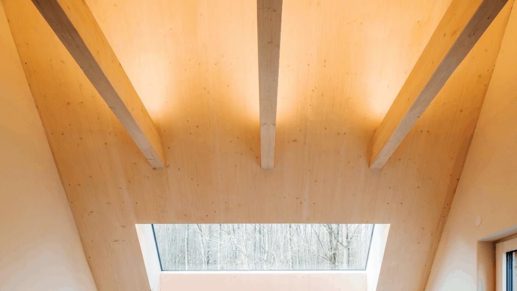 Raffinierte Formen in wunderschöner Holzoberfläche verleihen dem Haus Waldtraut seinen Charme. Eine perfekt inszenierte Architektur, nachhaltig umgesetzt mit Cross Laminated Timber.